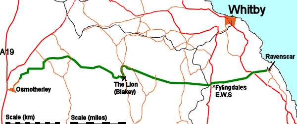 Map of the route of the Lyke Wake Walk